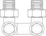 """Присоединительный узел """"Multiflex V"""", угловой 1/2""""НР x 3/4""""НР (Oventrop)"""