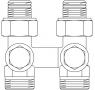 """Присоединительный узел """"Multiflex V"""", прямой 1/2""""НР x 3/4""""НР (Oventrop)"""